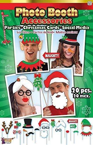 Fancy Me Set 20 Weihnachts Party Weihnachten Fotokabine Foto-Stand Requisiten Kostüm Partyspiel