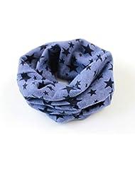 ruiio invierno cálido diseño de estrellas algodón gorro cuello caliente bufanda chal para niños niños niños niñas, algodón, azul vaquero, 40 x 40 cm