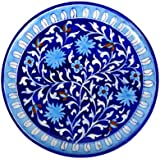 Blue Pottery Handmade Decorative Wall Plate With Floral Design In Indigo Blue, White And Light Blue Colour. Handmade Wall Décor Plates Will Make Your Wall Stand Out And Enhance The Beauty Of Your Home. It Can Be A Great Gift For Any Occasion.