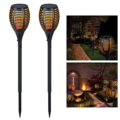 YUNLIGHTS Solarleuchten Garten Licht Solar LED Fackel Solar 96 LED Flamme Gartenfackel Outdoor Wasserdichte Gartenbeleuchtung, 2 Stück