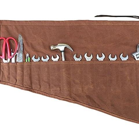 Imperméable ciré Rouleau de toile fait à la main (13poches) Portable Outil découpé à la main et cousu avec lanière de cuir, pour Artisans/femmes/les bricoleurs (Gjb13)