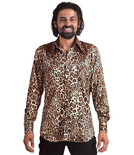70er Jahre Leoparden Muster Hemd Mehrfarbig