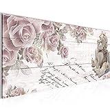 Bilder Engel Blumen Wandbild Vlies - Leinwand Bild XXL Format Wandbilder Wohnzimmer Wohnung Deko Kunstdrucke Rosa Grau 1 Teilig -100% MADE IN GERMANY - Fertig zum Aufhängen 006012a