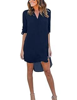 703f74c477d6d5 Yidarton Damen Tunika Chiffon Blusen Sommer Oberteile Kleider Casual  V-Ausschnitt Dünne Langarm Loose Shirt