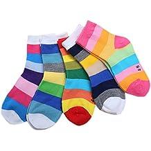 5 Pares/Conjunto Calcetines Infantil Unisex De Algodón Calcetines Raya Para Niños Niñas