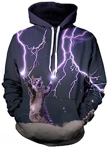 Imbry Herren Slim Fit Hoodie Long Sleeve Kapuzenpullover 3D Druck Muster Sweatshirt Pullover (2XL/3XL, Blitz-Katze)