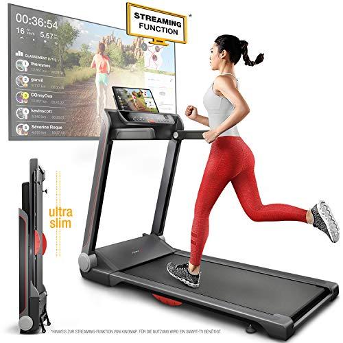 Sportstech FX300 Ultra Slim Laufband - Deutsche Qualitätsmarke - Video Events & Multiplayer APP, Riesen Lauffläche 51x122cm & kein Aufbau, 16 km/h,USB Ladeport, Pulsgurt kompatibel für Cardio Training