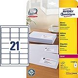 Avery Zweckform L7160-40 Adress-Etiketten (A4, 840 Stück, 63,5 x 38,1 mm) 40 Blatt weiß