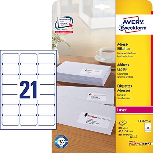 Avery Zweckform L7160-40 Adressetiketten/Adressaufkleber (mit ultragrip, 63,5 x 38,1 mm auf DIN A4, bedruckbar, selbstklebend, ideal für DIN B6/C6 Briefkuverts, 840 Etiketten auf 40 Blatt) weiß