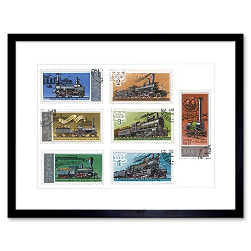 STAMP SOVIET UNION VARIOUS VALUES TRAIN HISTORY COLLAGE FRAMED PRINT B12X8551 -