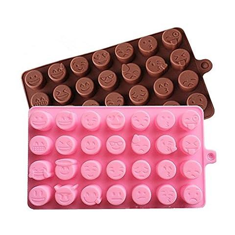 Freessom Moule en Silicone Patisserie Emoji 28 Cellules Mignon Original Pour Chocolate Cake Cupcake Soap Biscuit Cookies Gateau Dessert Gel Enfant DIY--Coloris Aleatoire