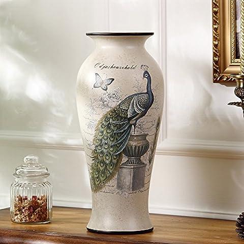 Estilo Euro Plug-jarrones modernos creativos floreros secos salón amueblado en decoración cerámica americana de flores grandes jarrones