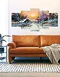 #9: PRINTELLIGENT Multiple Frames Sparkling Tree Ice Art Nature Painting Wall Art Panels Sunboard Frame Printed Painting Like Modern Wall Art Painting - 5 Frames (10 x 20 inch)