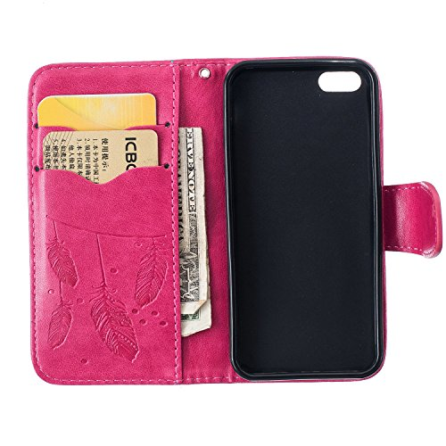 Custodia iPhone 5S,Custodia iPhone 5,Custodia iPhone SE,Custodia iPhone SE 5S 5,ikasus® iPhone SE 5S 5 Custodia Cover [PU Leather] [Shock-Absorption] Protettiva Portafoglio Cover Custodia Goffratura H Dream Catcher:Rosa caldo