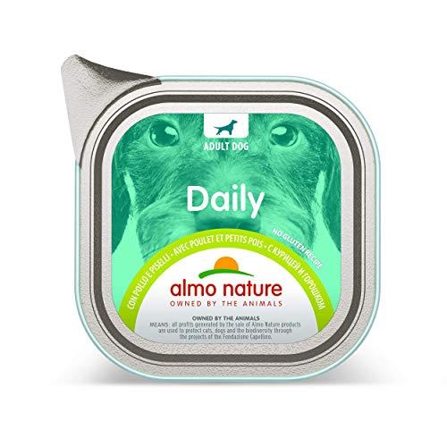 almo nature Daily pour Chien Adulte Complet sans Gluten Nourriture Humide avec Poulet et Peas-(Lot de 32x Plateaux de 100g 100% recyclables)