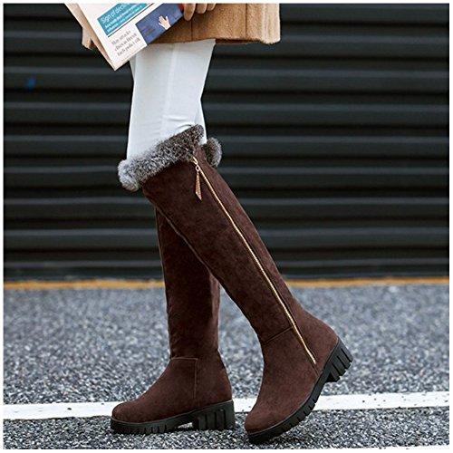 TAOFFEN Femmes Hiver Chaud Chaussures Talon Bas Cuissarde Bottes de Neige Fermeture Eclair 1455 Brown