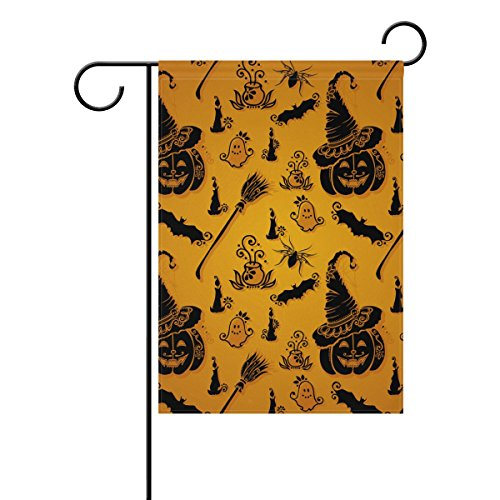 Doppelseitig Halloween Hexenhut Kürbis und Little Ghost Polyester HAUS/Garten Flagge Banner 12x 18/71,1x 101,6cm für Hochzeit Party alle Wetter, Polyester, Orange, 28x40