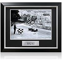 Exclusive Memorabilia Monaco Grand Prix Foto von Stirling Moss unterzeichnet. Im Deluxe-Rahmen