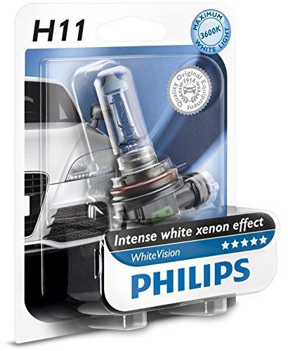 Philips 12362WHVB1 WhiteVision Bombilla para Faros Delanteros de Coches con Efecto Xenón, 3700 K, H11, 12 V, 55 W, Color Blanco Intenso