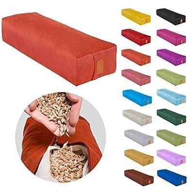 Eckiges Yoga Bolster »Paravati« mit Bio-Dinkelspelz (kbA) / Länge ca 67cm & Durchmesser ca 13cm - Yogakissen / Meditiationsunterlage /Dinkelspelzfüllung / Sitzkissen für Meditationen /100% Baumwolle