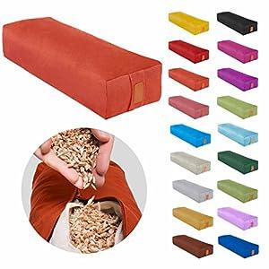 Eckiges Yoga Bolster »Paravati« mit Bio-Dinkelspelz (kbA) / Länge ca 67cm & Durchmesser ca 13cm – Yogakissen / Meditiationsunterlage /Dinkelspelzfüllung / Sitzkissen für Meditationen /100% Baumwolle