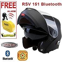 Viper RSV-151 Bluetooth + 3.0 Flip Up Motorcycle Helmet * With Free Pinlock * Matt Matt Black XL + Free FD-MOTO Alarm 110db Disc Lock with Reminder Cable