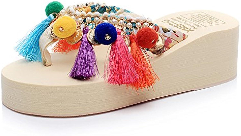 Pantofole HAIZHEN Scarpe da Donna Sandali Talloni dei Sandali di di di Modo di Estate di 5.5cm (Beige Nero Blu dentellare... | Design affascinante  d84462