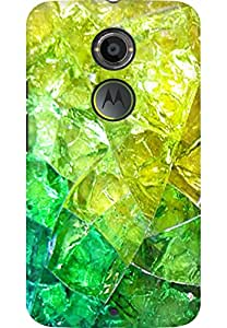 AMEZ designer printed 3d premium high quality back case cover for Moto X 2nd Gen. (green yellow crystal abstract)