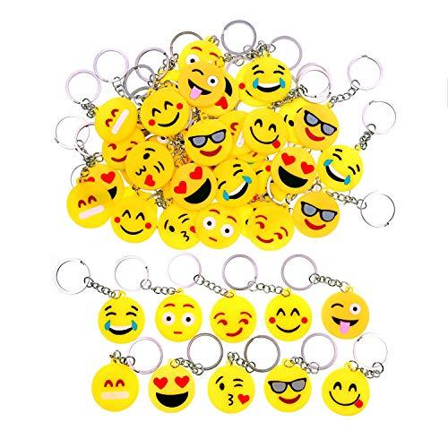 JZK 50 x Llavero Emoji llaveritos Emoticon Colgante decoración Bolsos Mochilas y Llaves regalitos Regalo Fiesta cumpleaños Navidad favores Boda para niños Adulto