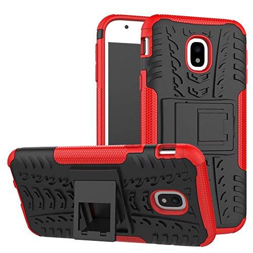 YHUISEN Hyun Pattern Dual Layer Hybrid Armor Kickstand 2 in 1 Shockproof Case Cover für Samsung Galaxy J3 Pro 2017 J330 (Europäische Version) ( Color : Green ) Red