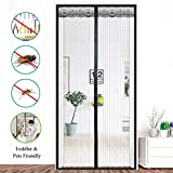 Sundaymot Magnetic Screen Door with Heavy Duty Mesh Curtain and Full Frame Velcro