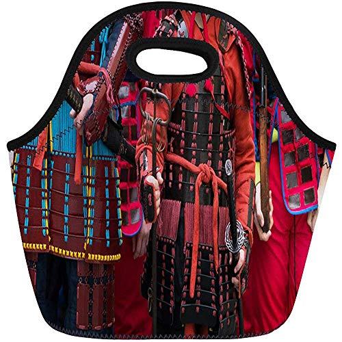 Rüstung Samurai Kostüm - Lunchpakete Schwarz Japan Samurai Rüstung und Helm Karneval Kostüme Soldaten Neopren Lunchpaket Lunchpaket Einkaufstasche Tragbare Picknicktasche Kühltasche