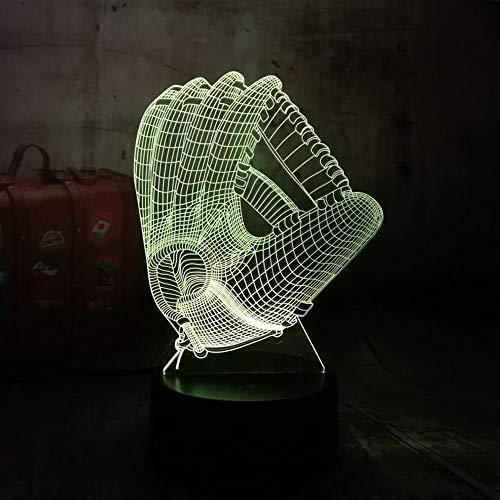 SSYYJJ 3D Illusion Nachtlampe für Kinder Dekoration Geburtstag Geschenk Tischlampen Machst du Sport? Baseball Glove