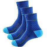 Sasairy Lot de 3 Paires de Chaussettes Anti transpiration en Coton Protège-Pied Socquettes de Sport Basketball Football Pour Homme Garçon Bleu
