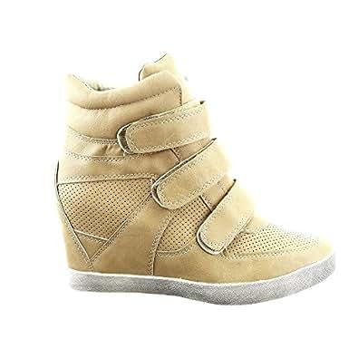 Sopily - Chaussure Mode Baskets compensée Montante Montante femmes Talon compensé 10 CM - Intérieur cuir - Khaki - FRF-58-303 T 35