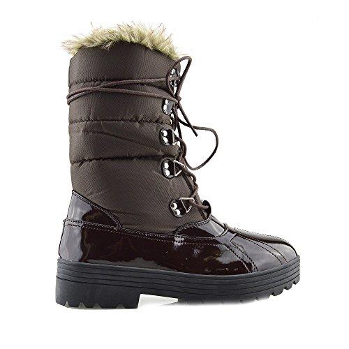Kick-Scarpe da donna, invernale, imbottitura in pelliccia, colore: nero Brown