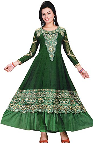 Exotic India Anarkali Flared Kameez Suit with Metallic-Thread Embroidery - Color Hunter...