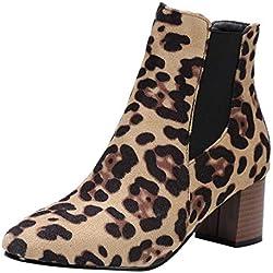 OHQ 2018 Botines De TacóN Alto Zapatos con Estampado De Leopardo Fashion para Mujer Botas Cortas De Felpa