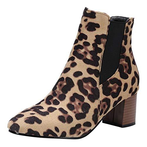 Yvelands Damen Leopard-Printed der Art- und Weisefrauen beschuht Kurze Plüsch-Stiefel mit hohen Absätzen Ankle Boots High Heels Stiefel Schuhe | Stiefeletten Ankle Boots Schlupfstiefel
