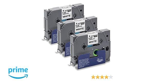 5x Ersatz kompatible Schriftbänder für Brother TZE211Schwarz auf Weiß 6mm-Ptouch