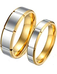 Beydodo Wedding Bands for Women and Men Size J 1/2-V 1/2 Two-tone Polished Ring Gold Silver Stainless Steel Ring