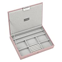 STACKERS �??CLASSIC SIZE�?? Soft Pink Lidded STACKER Jewellery Box with Grey Spotted Lining.