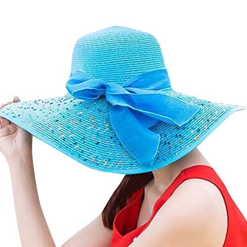 Produp Women Bunte Brim Straw Bogen Hut Sun Floppy breit Brim Hüte Beach Cap würdevoll und großzügig Nizza und komfortable Hut