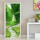 Fushoulu 3D Tür Aufkleber Bambus Wald Blume Gras Straße Vinyl Wandtattoo Tür Wand Kunst Schlafzimmer Wasserdichte Aufkleber Diy Wohnkultur-150X120Cm