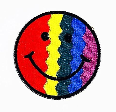 rabana Smile reainbow Face Cartoon Kids Kinder Cute Animal Patch für Heimwerker-Applikation Eisen auf Patch T Shirt Patch Sew Iron on gesticktes Badge Schild (Retro Roboter-kostüm)