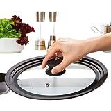 Culinario–Tapa de cristal universal con rejilla de silicona en el borde (evita salpicaduras), For diameter: 16/18/20