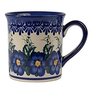 Traditional Polish Pottery, Handcrafted Ceramic Funnel-shaped Mug (300ml / 10.5 fl oz), Boleslawiec Style Pattern, Q.301.PANSY
