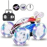 F Ferngesteuertes Auto Drehbar Auto Kinderspielzeug Leuchtend 360 ° Drehbarer Stuntwagen RC Car mit LED Licht Fernbedienung Weihnachten Geschenk für Kinder