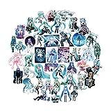 Saicowordist 100 Pcs Hatsune Miku Anime PVC Decal Personality Travel Trolley Sticker Waterproof Doodle Decal Anime Fans Cadeaux
