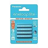Panasonic eneloop Lite, Ready-to-Use NI-MH Akku, AAA Micro, 4er Pack, Min. 550 mAh, 3000 Ladezyklen, Geringe Selbstentladung